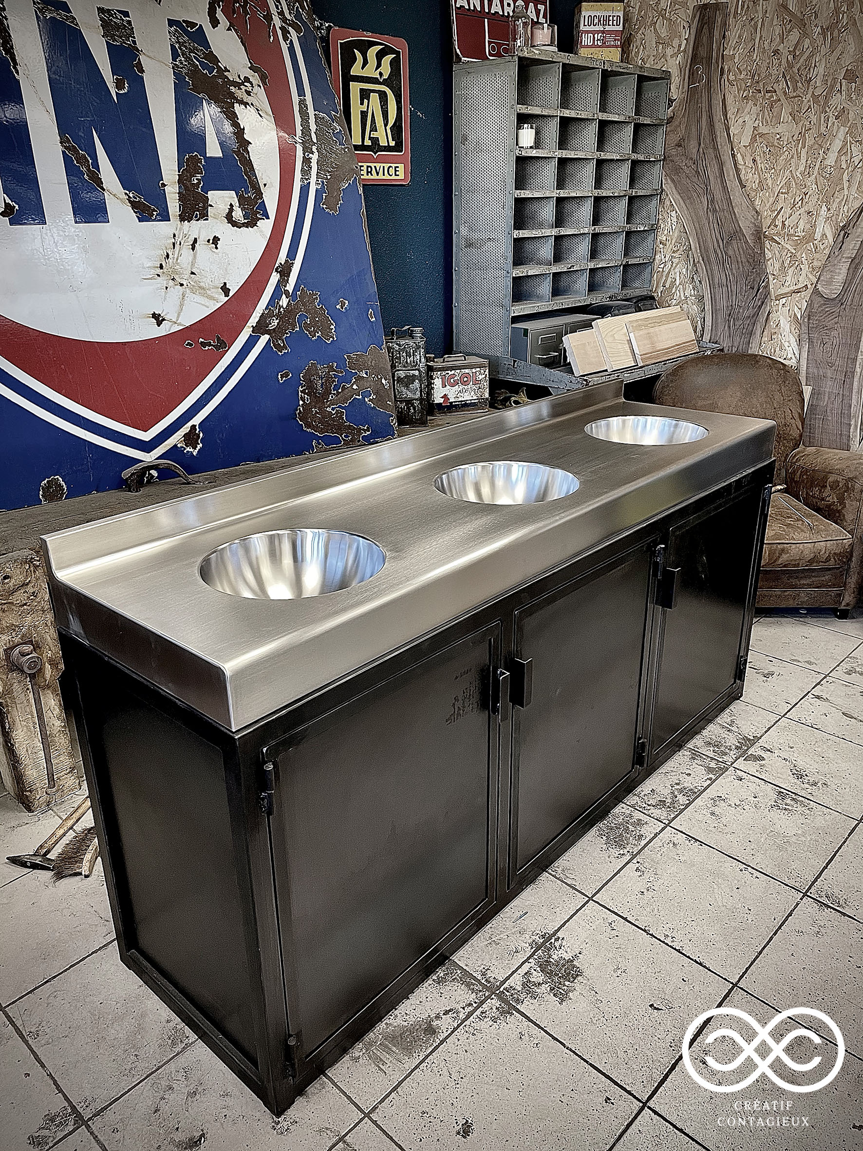 Meuble vasques inox