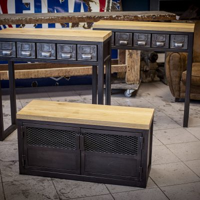 Console avec tiroirs industriels
