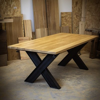 Table industrielle a rallonges