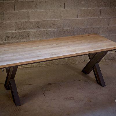 Table industrielle avec rallonges
