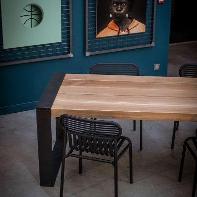 TABLE AVEC LAMBOURDES CHENE MASSIF